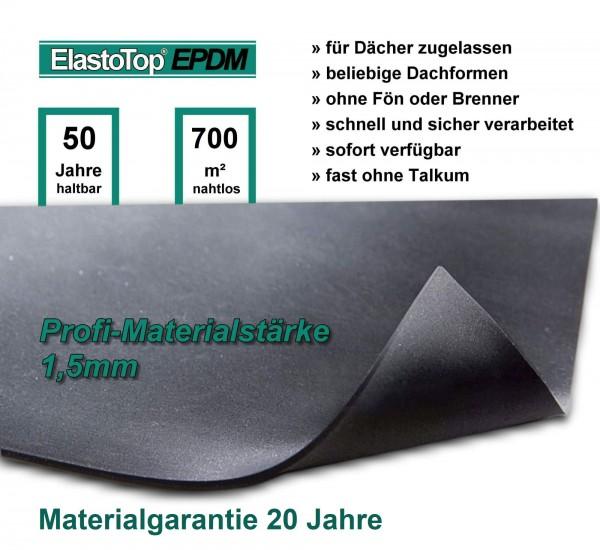 1,5 mm PROFI-EPDM Dachfolie ElastoTop® mit Zulassung abP, auch Wohngebäude